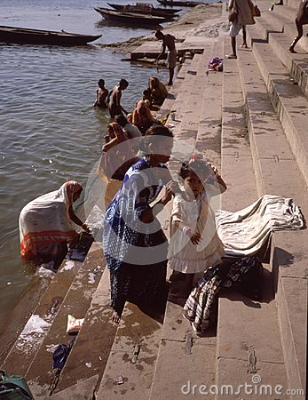 a morning bath in the Ganges