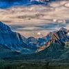 Canada Rocky Mountains Panorama landscape view. Canada Rocky Mountains Panorama on cloudy sky banff park Stock Photo