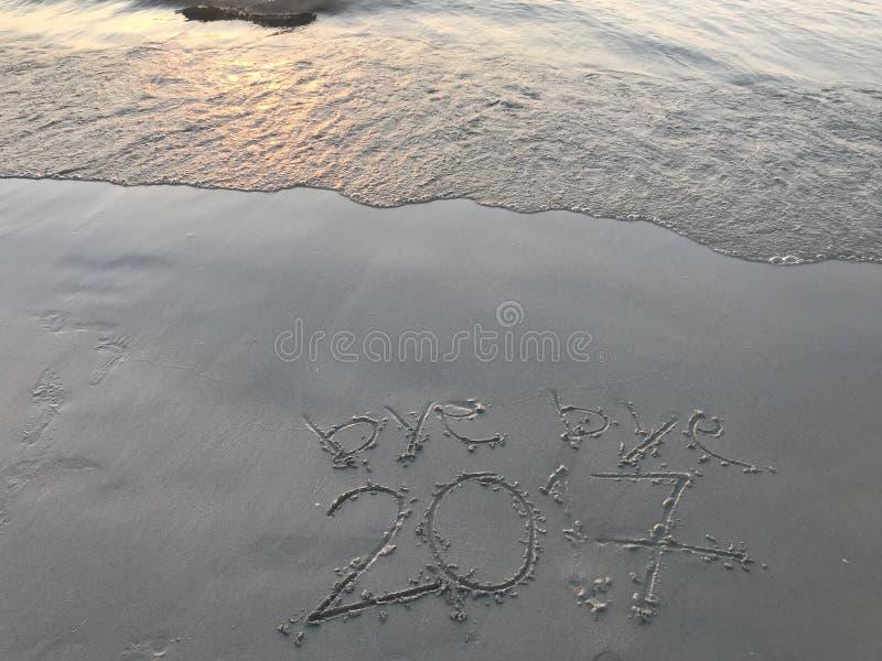 """ свободного от игры дня 2017†""""bye на пляже при море развевая когда заход солнца стоковое изображение"""