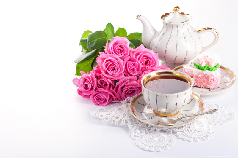 ¡ Ð вверх чая и роз стоковая фотография