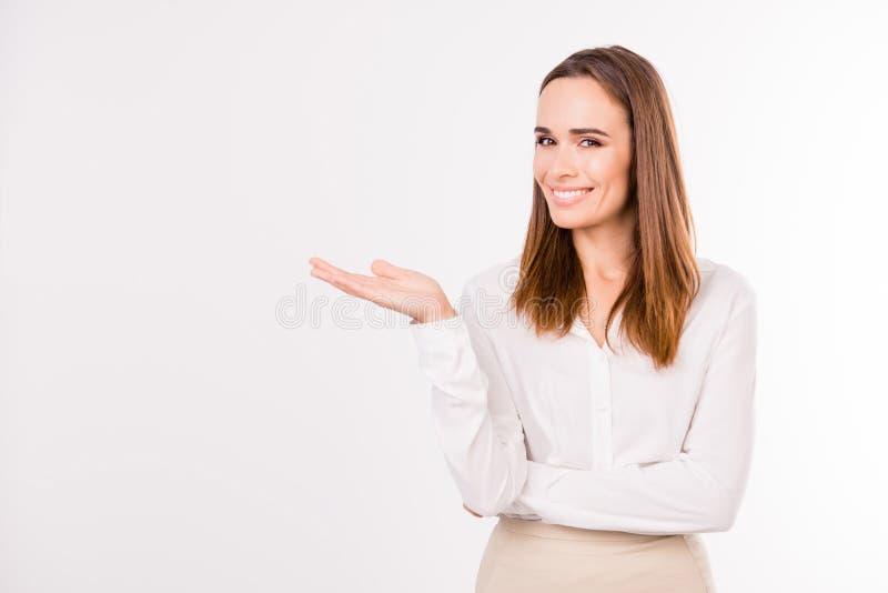 ¡ Bienvenido! ¡Mire! El aturdir inteligente femenino magnífico acertado fotos de archivo libres de regalías