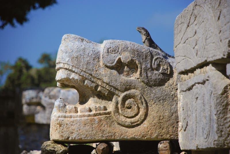 ¡ Chichén Itzà Майя игуаны стоковое изображение