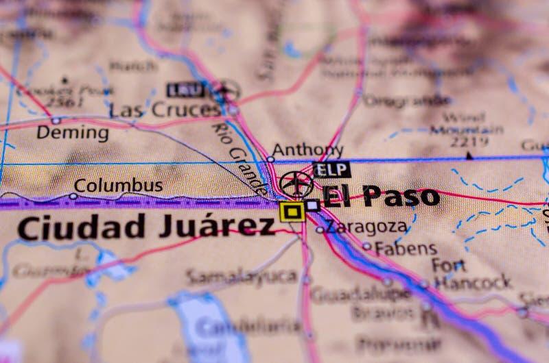 ¡ Ciudad Juà rez und El Paso auf Karte stockbilder