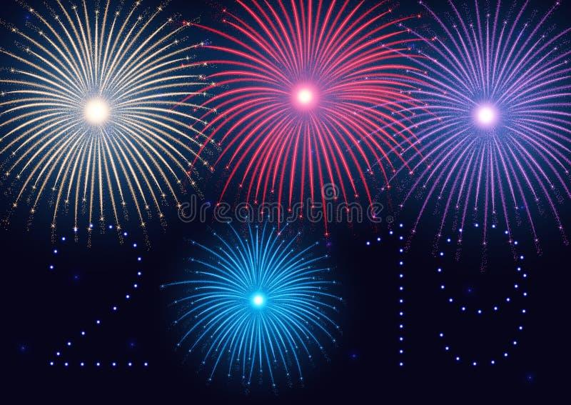¡2019 Felices Año Nuevo! Feliz Año Nuevo, fondo con los fuegos artificiales coloridos y chispas ilustración del vector
