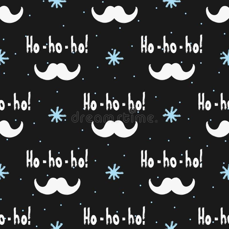 ¡` Manuscrito del texto Ho-ho-ho! `, bigote de Santa Claus y copos de nieve pintados con el cepillo Modelo inconsútil stock de ilustración