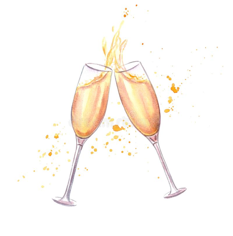 ¡Alegrías! Pares de vidrios del champán ilustración del vector