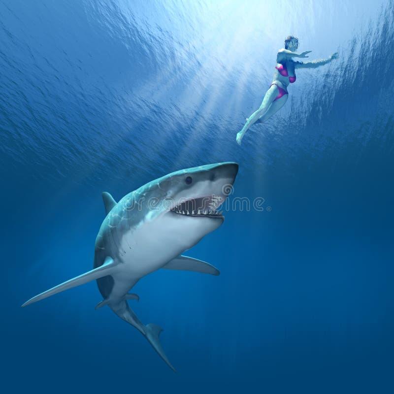 ¡Ataque del tiburón! ilustración del vector