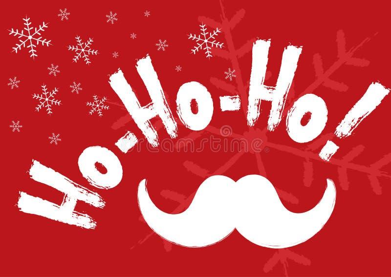 ¡Bandera horizontal de la Navidad con los copos de nieve, el bigote de Santa Claus y el texto manuscrito Ho-ho-ho! ilustración del vector