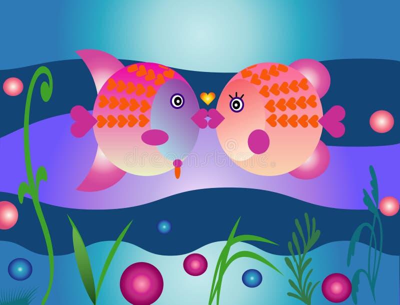 ¡Beso de los pescados de las tarjetas del día de San Valentín! ilustración del vector