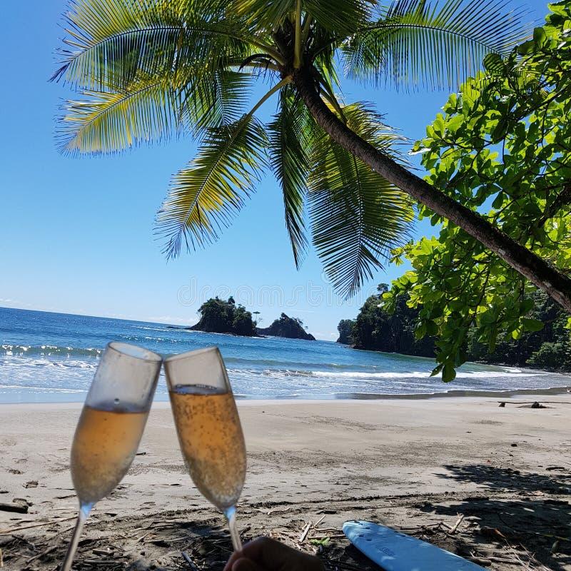 ¡Champán en la playa! foto de archivo
