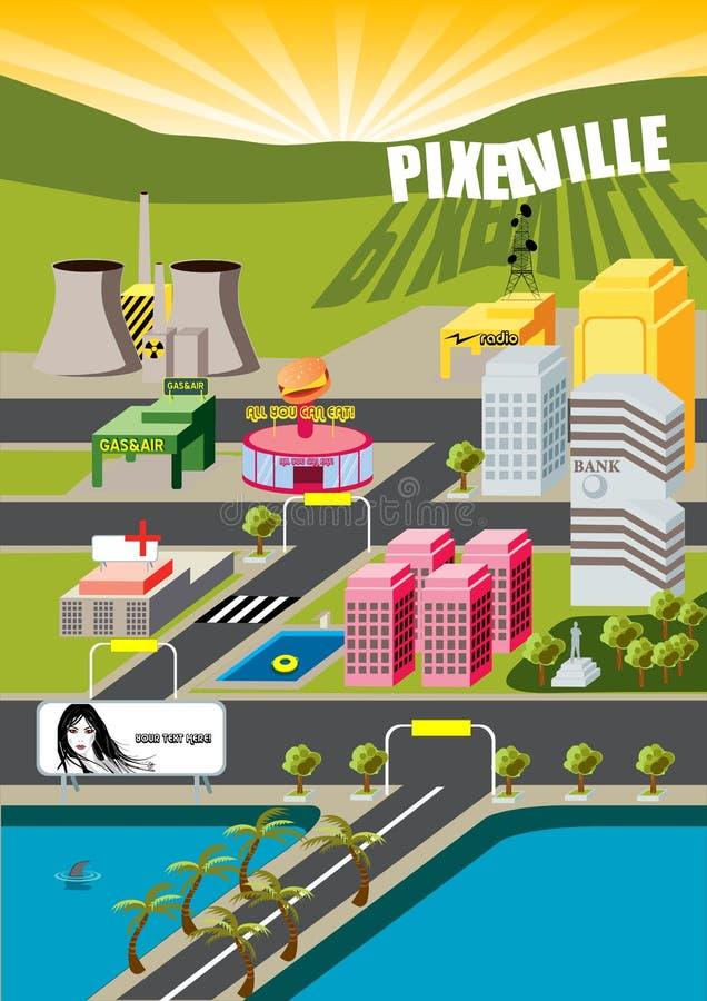 ¡Ciudad de Pixelville! ilustración del vector