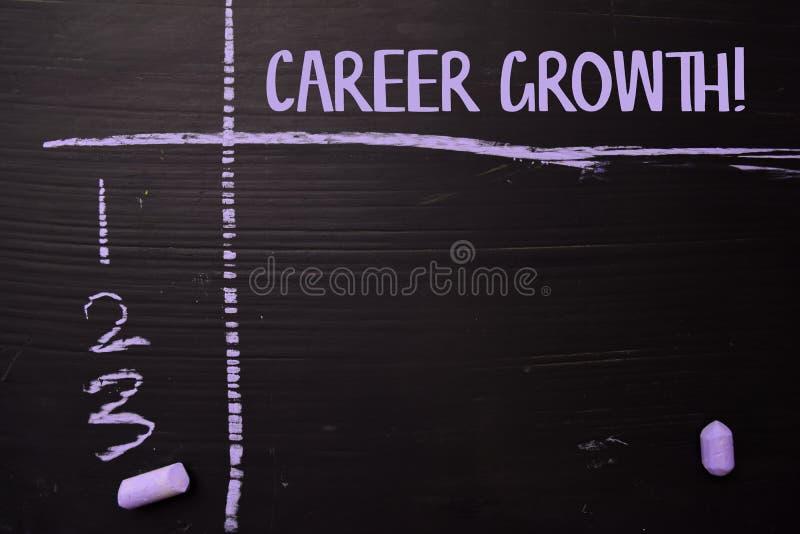 ¡Crecimiento de la carrera! escrito con tiza del color Apoyado por servicios adicionales Concepto de la pizarra foto de archivo