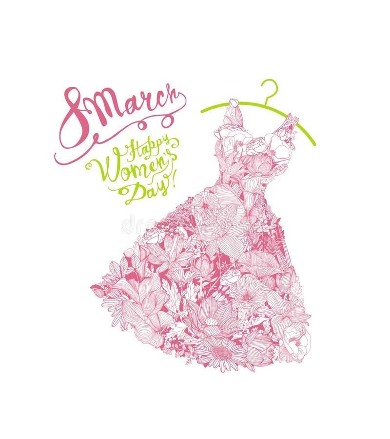 ¡Día feliz del ` s de la mujer! Día de fiesta del 8 de marzo Vestido de flores libre illustration
