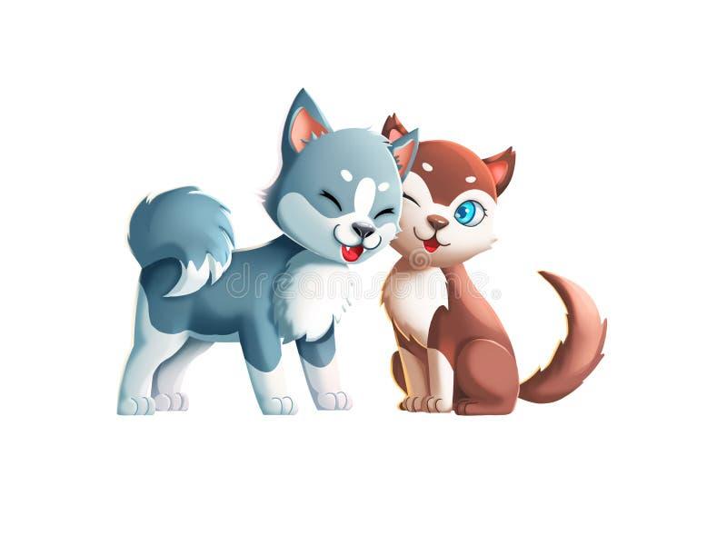 ¡Dos perros lindos! ¡Besar pares! stock de ilustración