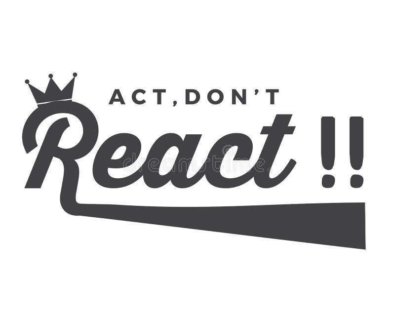 ¡El acto, no reacciona!! stock de ilustración