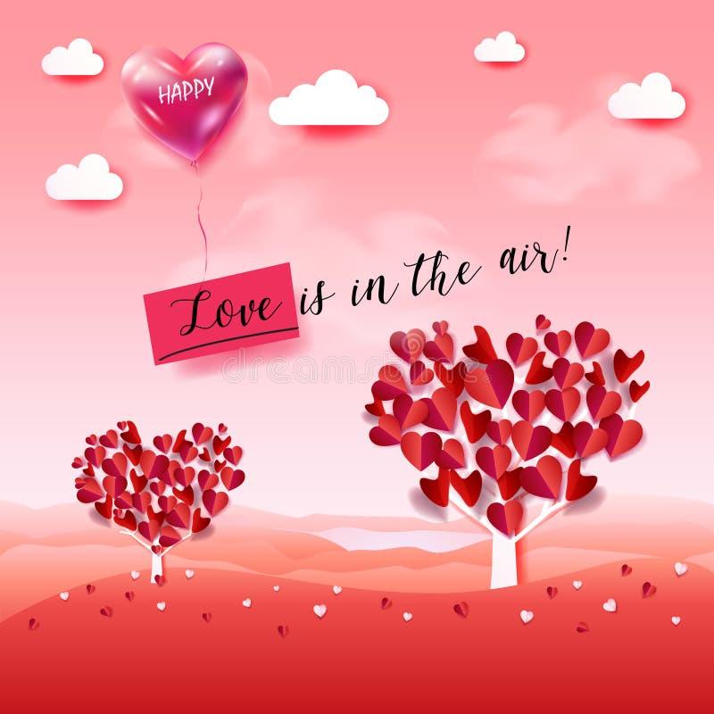 ¡El amor está en el aire! Día de tarjetas del día de San Valentín stock de ilustración