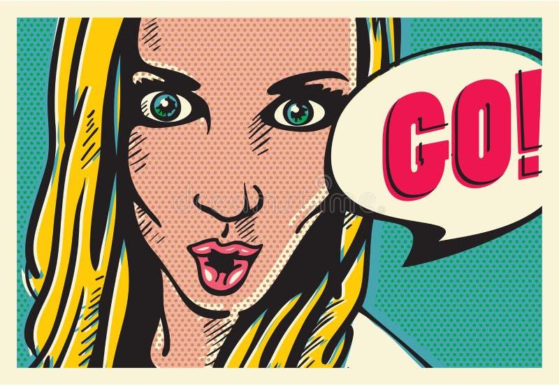 ¡El cartel retro del vintage de la mujer del arte pop, el decir de la mujer va! libre illustration