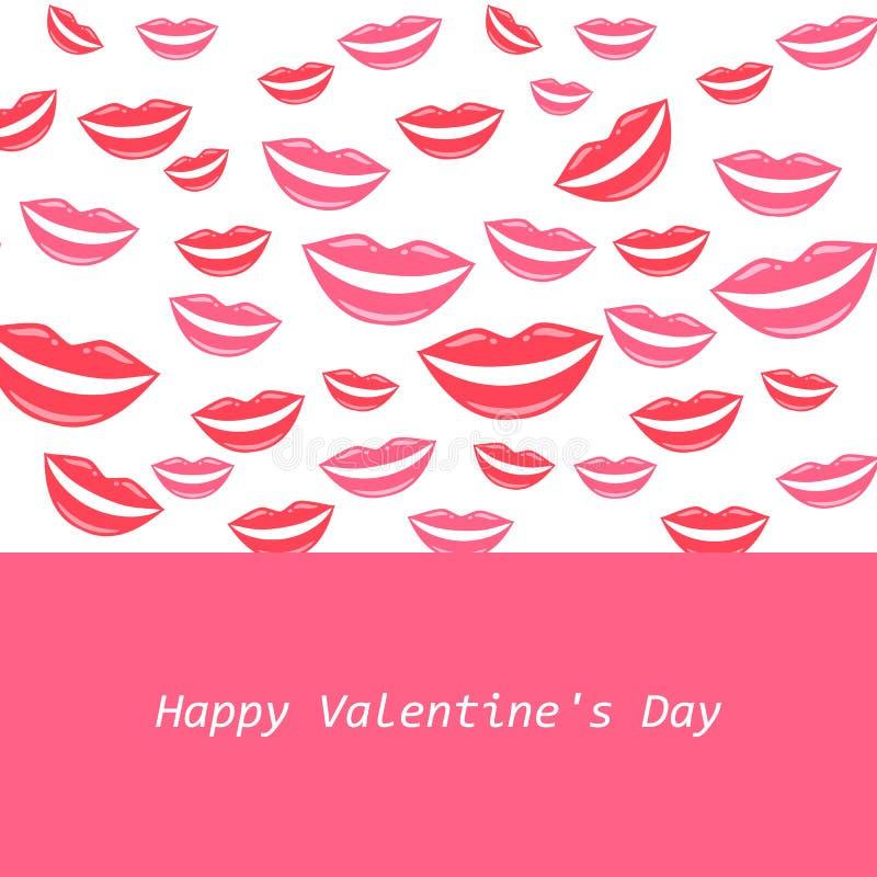 ¡El día de tarjeta del día de San Valentín feliz! Tarjeta de felicitación preciosa con los labios rosados de la muchacha Sonrisa  libre illustration