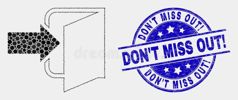¡El icono y Scratched de la puerta de salida del pixel del vector no hacen Srta. Out! Sello stock de ilustración