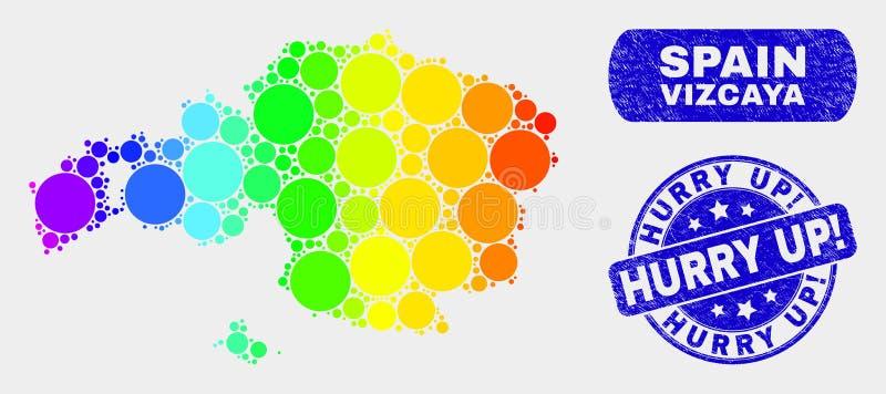 ¡El mapa coloreado y la desolación de la provincia de Vizcaya del mosaico se apresuran para arriba! Filigrana libre illustration