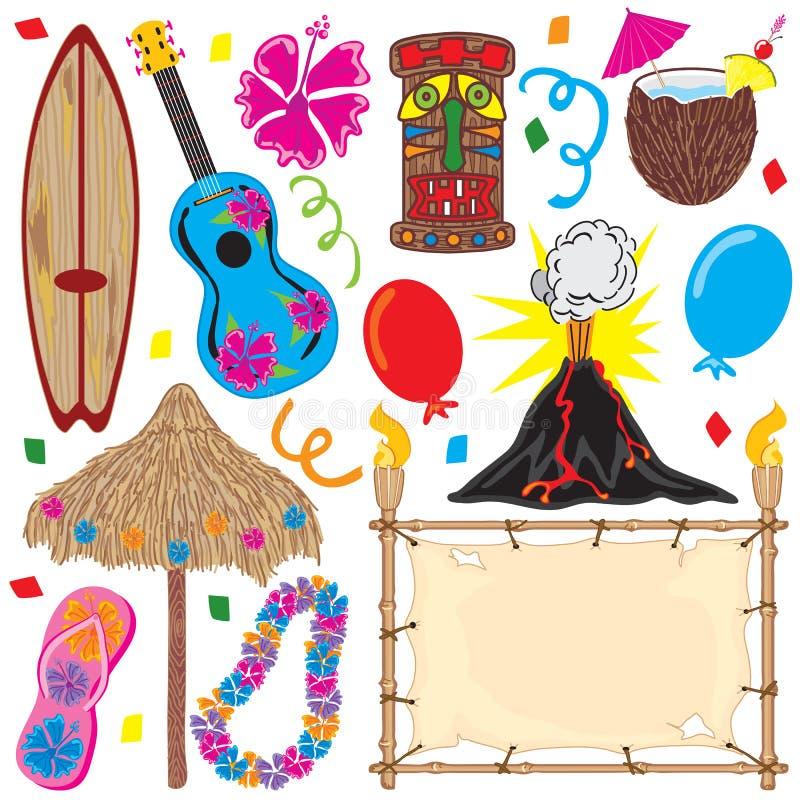 ¡Elementos del partido de Tiki grandes para un partido hawaiano! stock de ilustración