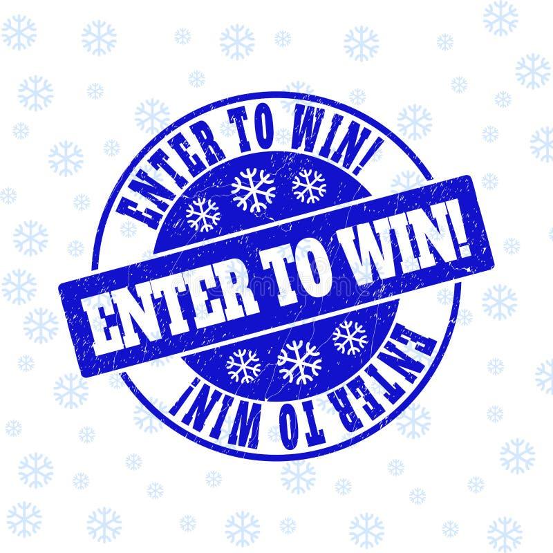 ¡Entre para ganar! Sello del sello de la ronda del Grunge para Navidad ilustración del vector