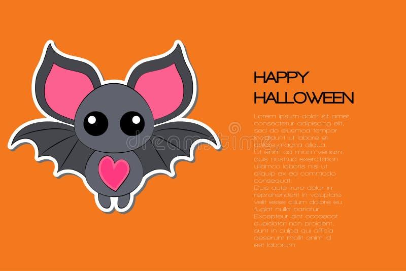 Â¡Feliz Halloween! Murciélago de caricatura gracioso sobre fondo naranja. Ilustraci?n del vector stock de ilustración