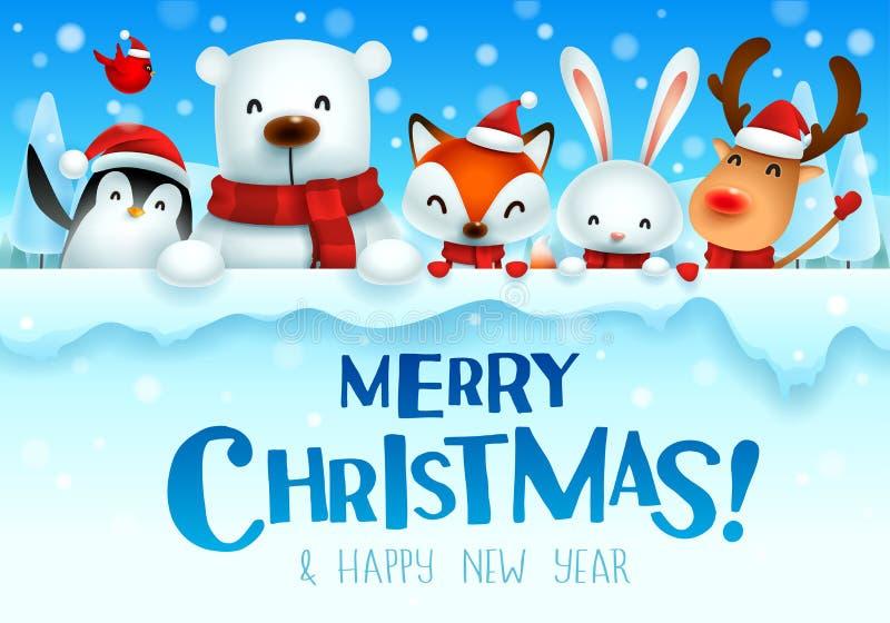 ¡Feliz Navidad! Carácter lindo de los animales de la Navidad con el letrero grande ilustración del vector