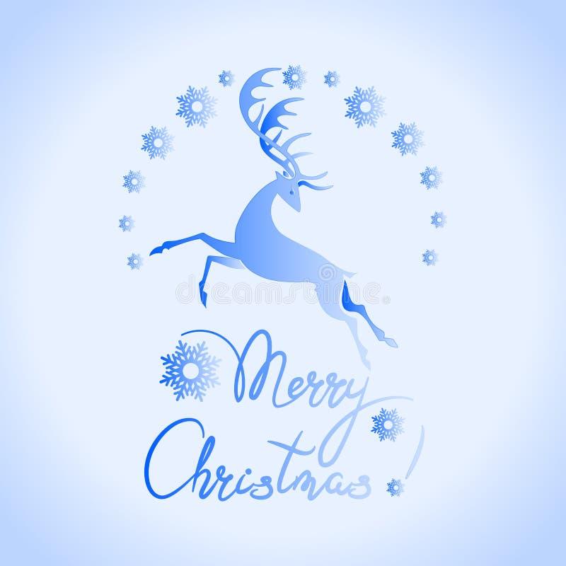 ¡Feliz Navidad! Ciervos de funcionamiento en un halo de copos de nieve stock de ilustración