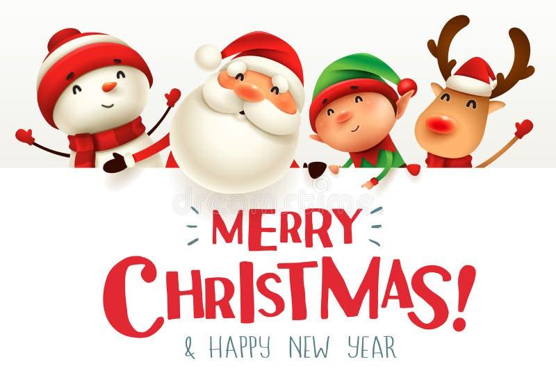 ¡Feliz Navidad! Compañeros de la feliz Navidad con el letrero grande stock de ilustración