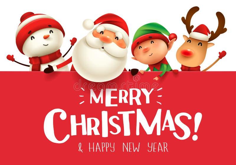 ¡Feliz Navidad! Compañeros de la feliz Navidad con el letrero grande ilustración del vector