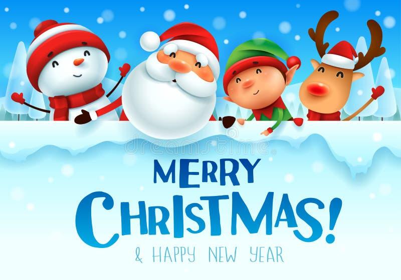¡Feliz Navidad! Compañeros de la feliz Navidad con el letrero grande i stock de ilustración