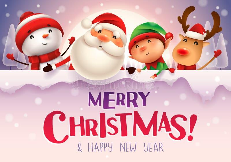 ¡Feliz Navidad! Compañeros de la feliz Navidad con el letrero grande I n el claro de luna en paisaje del invierno de la escena de stock de ilustración
