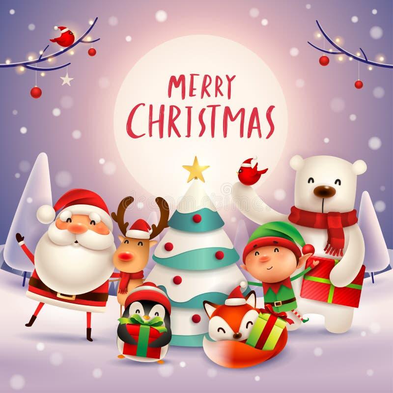 ¡Feliz Navidad! Compañeros de la feliz Navidad en el claro de luna ilustración del vector