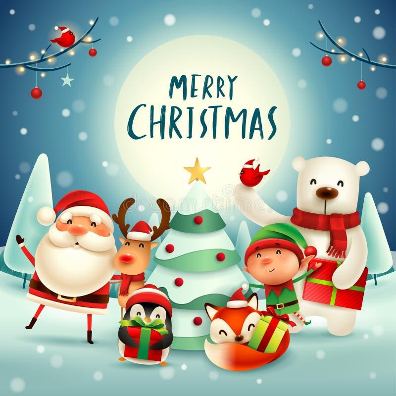 ¡Feliz Navidad! Compañeros de la feliz Navidad en el claro de luna sa ilustración del vector