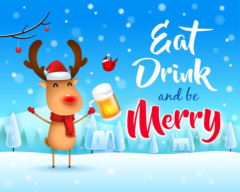 ¡Feliz Navidad! El reno con la nariz roja con la cerveza en paisaje del invierno de la escena de la nieve de la Navidad libre illustration