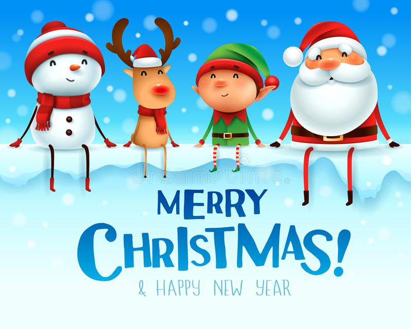¡Feliz Navidad! Los compañeros de la feliz Navidad se sientan en letrero grande stock de ilustración