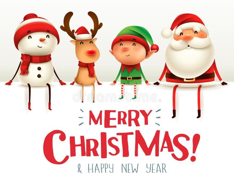 ¡Feliz Navidad! Los compañeros de la feliz Navidad se sientan en letrero grande ilustración del vector