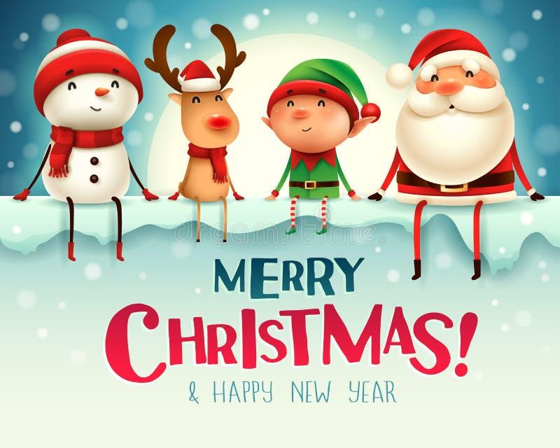 ¡Feliz Navidad! Los compañeros de la feliz Navidad se sientan en letrero grande en el claro de luna stock de ilustración