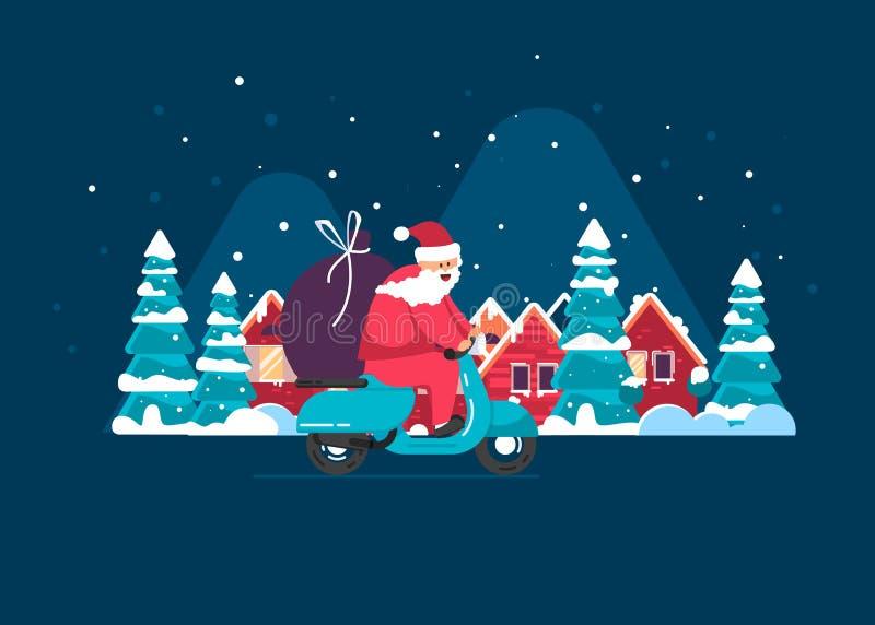 ¡Feliz Navidad! Papá Noel está llevando los regalos ilustración del vector