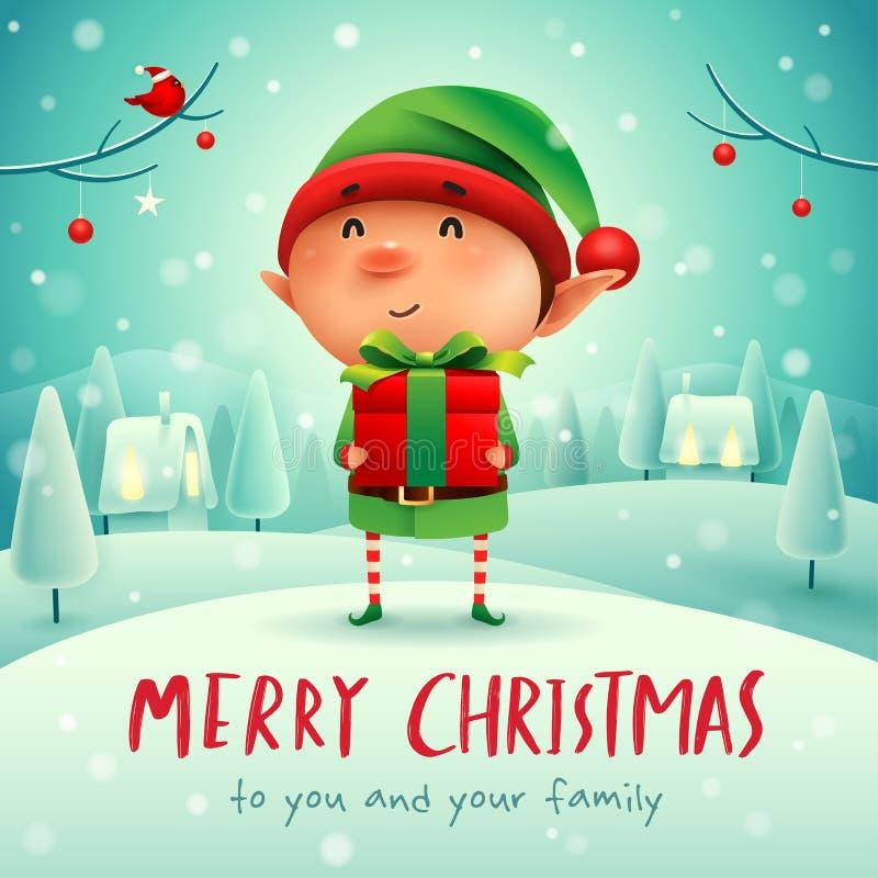 ¡Feliz Navidad! Pequeño duende con el presente del regalo en paisaje del invierno de la escena de la nieve de la Navidad stock de ilustración