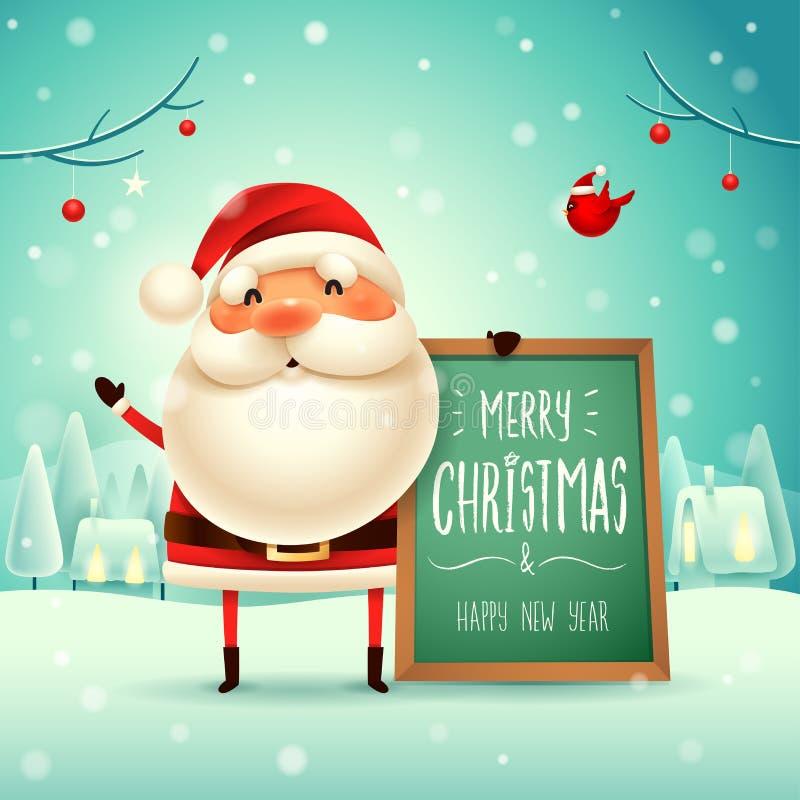 ¡Feliz Navidad! Santa Claus con el tablero de mensajes en paisaje del invierno de la escena de la nieve de la Navidad stock de ilustración