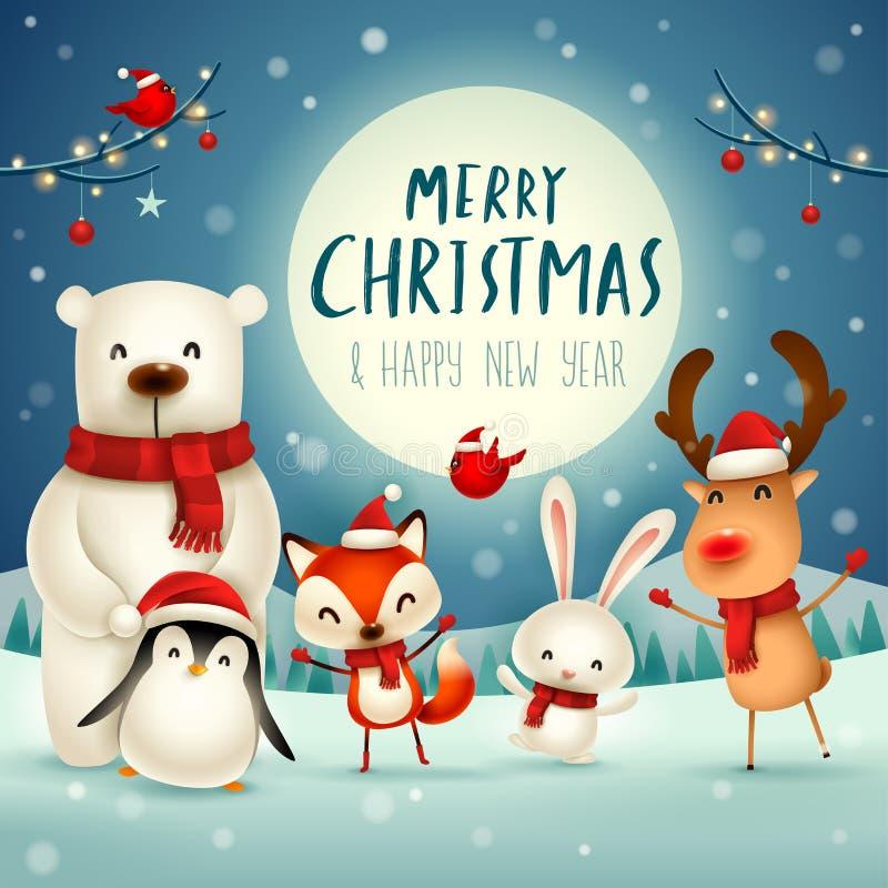 ¡Feliz Navidad y Feliz Año Nuevo! Carácter lindo de los animales de la Navidad Compañeros de la feliz Navidad libre illustration