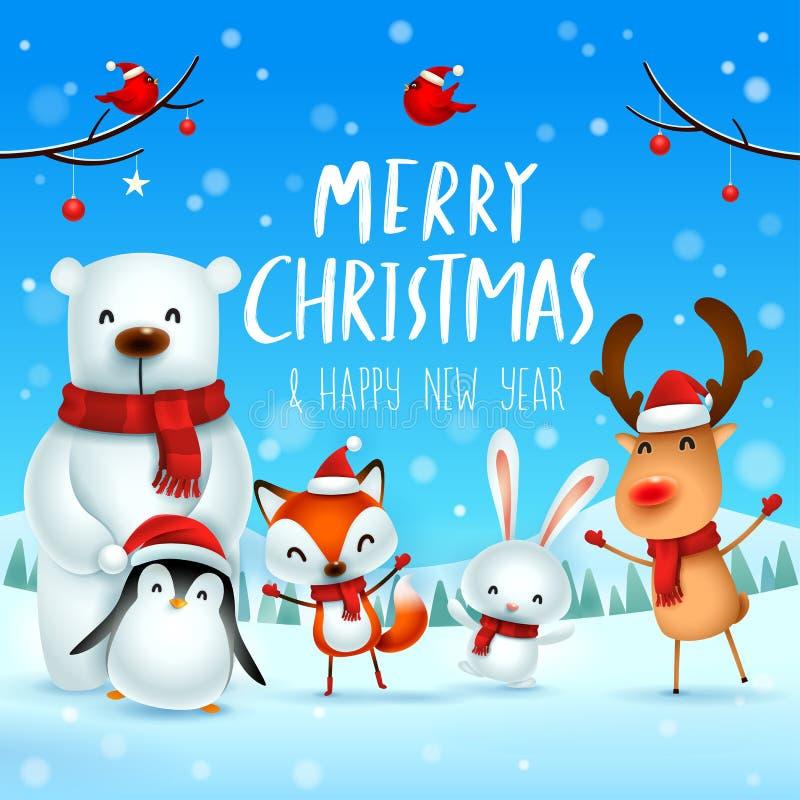 ¡Feliz Navidad y Feliz Año Nuevo! Carácter lindo de los animales de la Navidad Compañeros de la feliz Navidad ilustración del vector