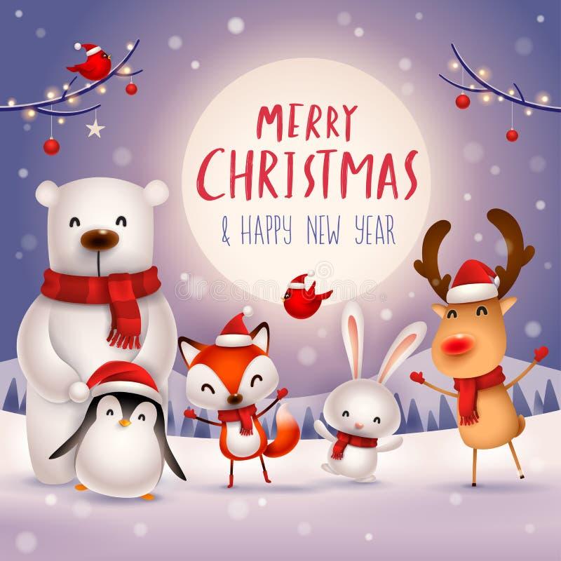 ¡Feliz Navidad y Feliz Año Nuevo! Carácter lindo de los animales de la Navidad Compañeros de la feliz Navidad stock de ilustración