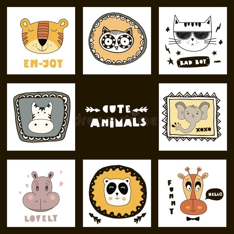 ¡Fije con las caras lindas de los animales y poner letras a animales lindos! libre illustration
