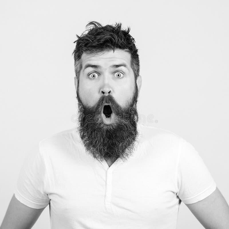 ¡Guau! Sorprendido hombre barbudo de fondo blanco Expresiones y emociones de rostro humano fotos de archivo libres de regalías