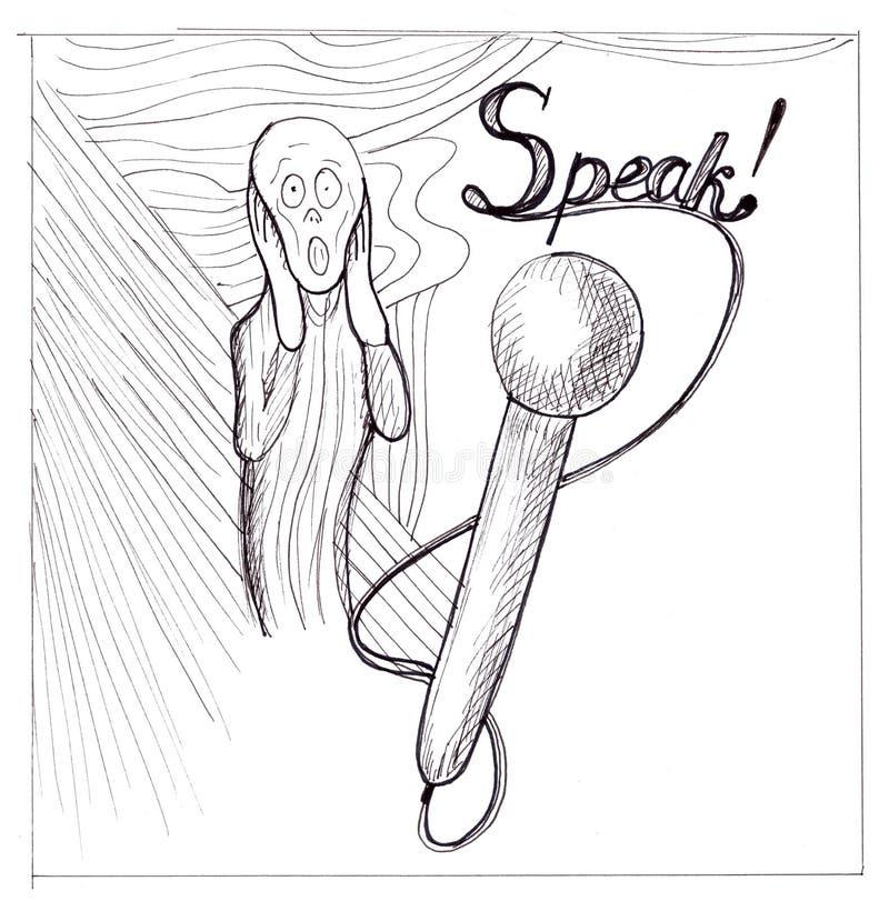 ¡Hable! ¡Usted no puede gritar! stock de ilustración