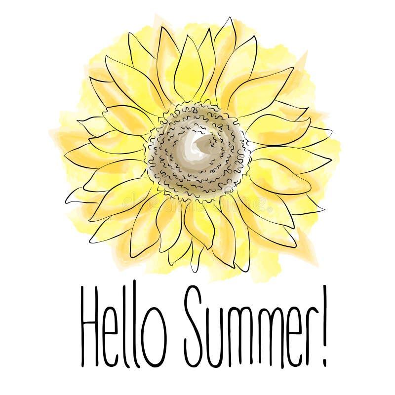 ¡Hola verano! Ejemplo amarillo del vector del girasol en el fondo blanco stock de ilustración