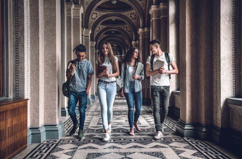 ¡La vida del campus es impresionante! El grupo de estudiantes está caminando en pasillo y la charla de la universidad fotos de archivo libres de regalías